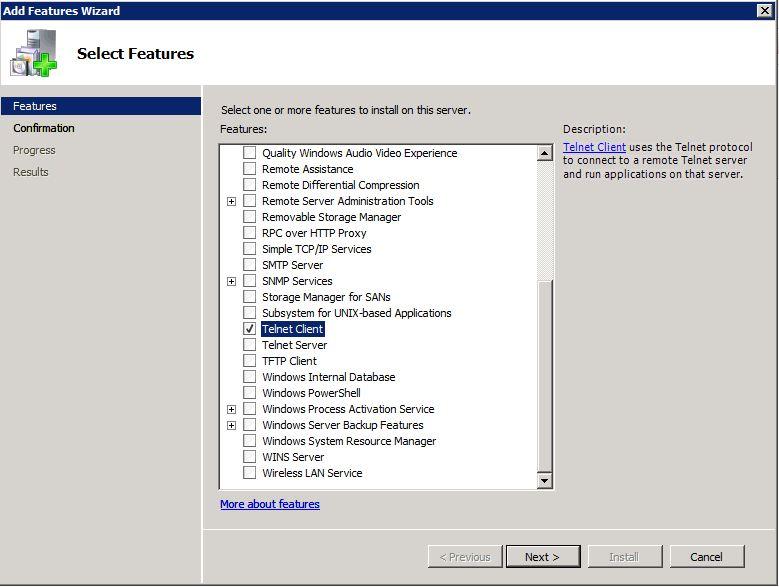 Installing The Telnet Client On Windows Server 2008 & 2008