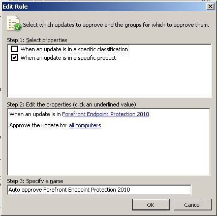 Configure ForeFront Endpoint Protection 2010 with System