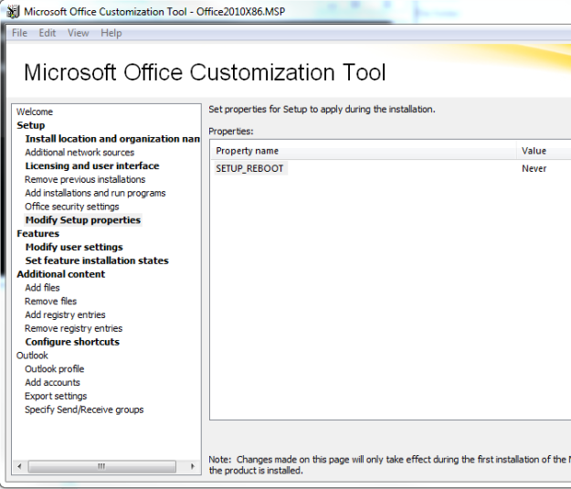 Office 2010 MSP No Reboot