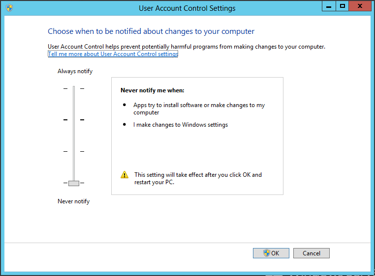 Fully Disable User Account Control In Windows Server 2012