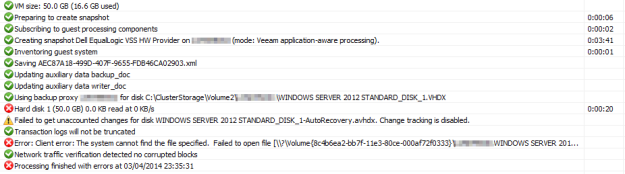 Veeam Error